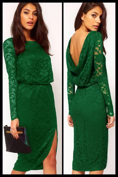 Midi Dress in Lace with Cowl Back and Split in green or black  Item No. : Green - DP7261-1; Green - DP7261-2  Price : $61.99  Size S/M only available.   To order today, please email us at dieprettyclothing@gmail.com    We look forward to hearing from you!    ~ Die Pretty Clothing Co. www.dieprettyclothingco.com