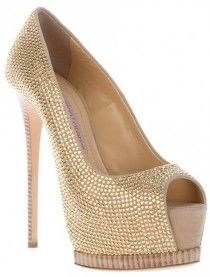 High-Heeled Platform shoes with gold jewels