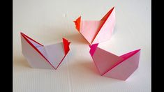 Origami Cards, Kids Origami, Origami And Kirigami, Origami Easy, Origami Paper, Easy Paper Crafts, Diy And Crafts, Arts And Crafts, Origami Rooster