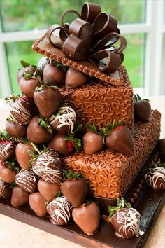 Cascading Chocolate Covered Strawberries Grooms Cake - The Cadbury Kitchen #bow