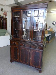 Gorgeous narrow display cabinet, gc, measures H-193cm W-118cm D-42cm --------------- £145 (pc905)
