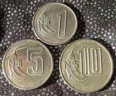 Monedas De Uruguay N$ 1, 5 Y 10, Años 1980-1981. Impecables. $150 ...