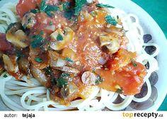 Špagety s rajčatovou omáčkou a houbami(gothaj,rajčata,suš.hřiby)