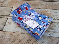 Premium 3 Burp Cloth Set Large Flannel and Terry Cloth Traffic On the Go Rescue Ambulance Fire Truck Police Car Bus Boy New Baby Gift
