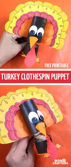Looking for a fun Turkey puppet to make ? Grab this free printable template to make an adorable recycled Thanksgiving craft. Paper Crafts Origami, Paper Crafts For Kids, Scrapbook Paper Crafts, Fun Crafts, Thanksgiving Arts And Crafts, Christmas Paper Crafts, Origami Turkey, Construction Paper Crafts, Marionette