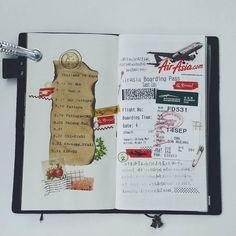 """""""因为从小到大就特别喜欢和飞机有关的一切,所以登机牌一定是要保留的哦。(亚航的空少好帅哦) #travelersnote #travelersnotebook #midoritravelersnotebook #washitape #stationery #traveler #washitape…"""""""