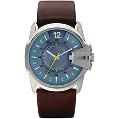 Diesel Dz1399 Mens Strap Watch ($160) ❤ liked on Polyvore featuring men's fashion, men's jewelry, men's watches, mens bracelet watch, mens analog watches, mens blue dial watches, diesel mens watches and mens watches jewelry