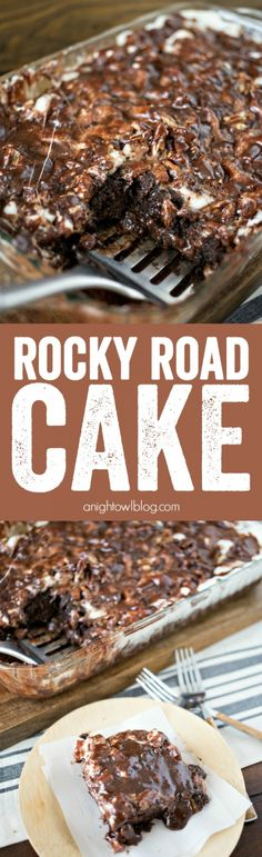 Rocky Road Cake - a delicious combination of chocolate, marshmallows and nuts in one delicious and easy to make dessert!