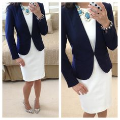H&M navy blazer + white Banana Republic sheath dress + Ann Taylor cabochon + polka dot pumps = work outfit.  To see more outfit ideas visit: http://www.StylishPetite.com