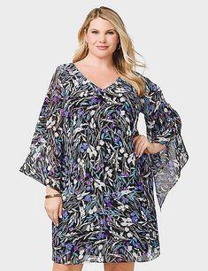 d890980c0e9 Plus Size Floral Chiffon Split-Sleeve Dress