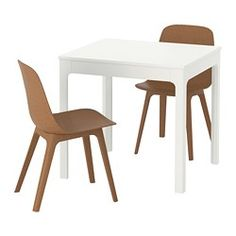 IKEA - EKEDALEN / ODGER, Table and 2 chairs, The table is both stable and durable since it has a surface treatment that protects it against knocks and scratches.The smart design means that the table top has no seams when you use the table without extending it.The table legs are always in the corners of the table top even when the table is extended, so there is plenty of room for chairs under the table.Can be easily extended by one person.Easy to combine with chairs and benches in the sam...