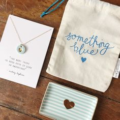 """Old new borrowed... BLUE!  I'm so excited to show y'all our sweet """"something blue"""" gift bag!  It's perfect for brides and beautiful blue goodies like this stripe tray or handmade blue heart necklace!  We are in love! #shop_declarationco #bride #bridalshower #somethingblue #heart #wedding #love by shop_declarationco"""