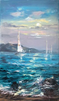 Sailboat Art, Sailboat Painting, Nautical Painting, Large Painting, Oil Painting On Canvas, Hanging Paintings, Watercolor Pictures, Wave Art, Water Photography
