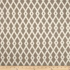 Tyler Geo Trellis Taupe from @fabricdotcom  Screen printed on cotton duck; this versatile, medium weight fabric is perfect for window accents (draperies, valances, curtains and swags), accent pillows, bed skirts, duvet covers, upholstery and other home decor accents. Create handbags, tote bags, aprons and more. Colors include ivory and warm taupe grey. This fabric has 100,000 double rubs.