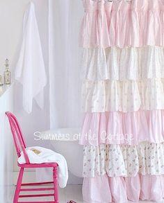 .pink ruffled curtain