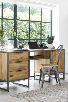 Home office Industrial - Brooklyn Natural Solid Oak and Metal Computer Desk. Industrial Office Design, Home Office Design, Home Office Decor, House Design, Industrial Desk, Home Decor, Industrial Bedroom, Office Ideas, Office Furniture