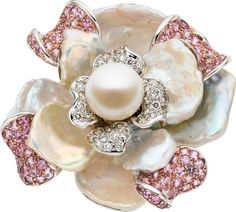 Cultured Pearl, Pink Sapphire, Diamond, Freshwater Pearl, WhiteGold Ring.