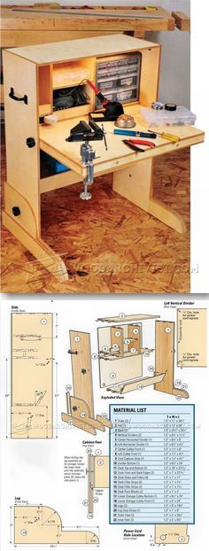 Hobby Desk Plans - Workshop Solutions Projects, Tips and Tricks - Woodwork, Woodworking, Woodworking Plans, Woodworking Projects Woodworking Bench, Woodworking Shop, Woodworking Crafts, Desk Plans, Wood Plans, Diy Wood Projects, Home Projects, Hobby Desk, Ideas Para Organizar
