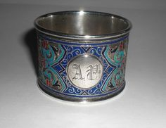 Antiker Russischer Silber Emaille Serviettenring / Napkin Ring