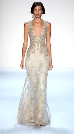 Embellished gowns turned heads at the #BadgleyMischka runway show for Spring 2014