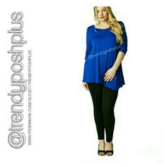 Blue Top with Button Accents - 1X, 2X, 3X 95 % Rayon 5 % Spandex Tops