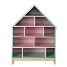 Roze houten kinderboekenkast huis B 75 cm