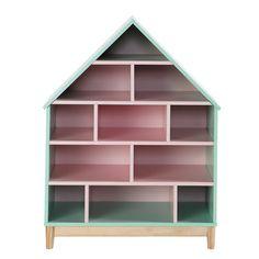 Bücherregal Haus für Kinder aus Holz, B 75cm, rosa