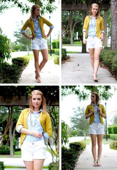 yellow/mustard/chartreuse cardigan over chambray blue button down and white bottoms