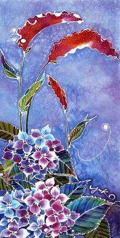 Yuko Nakata, батик Nursery Paintings, Animal Paintings, Fabric Painting, Fabric Art, Textile Prints, Textile Art, Shibori, Wax Art, Batik Art