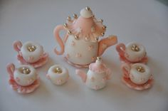 Edible Tea Party Cake and Cupcake toppers set made of fondant and gumpaste