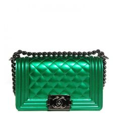 be573d403a8 CHANEL Metallic Patent Calfskin Quilted Small Boy Flap Green ❤ liked on  Polyvore featuring bags