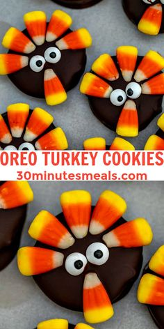 Oreo Turkey Cookies are super fun to make, and pretty much essential for Halloween or Thanksgiving holidays. #oreo #nobake #halloween #dessertrecipes #30minutemeals