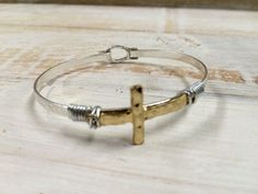 Wire-Wrapped Goldtone Cross on Silvertone Bangle