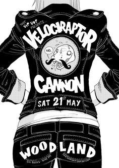 Velociraptor Cannon gig poster - Sam McKenzie