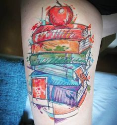 Watercolor Book Tattoo by Lissy