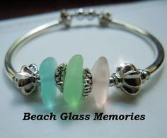 Silver Sea Glass Bracelet with Pastel Beach Glass Jewelry Seaglass Bracelet. $28.50, via Etsy.