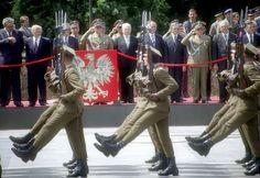 The Representative Company of the Polish People's Army (Kompania Reprezentacyjna Ludowego Wojska Polskiego) marching through Victory Square in Warsaw at the 1989 Polish Liberation Day Parade.