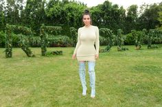 Pin for Later: The Unexpected Shoe Trend Kim Kardashian Is on a Mission to Make Happen Kim Wore Her Denim Over-the-Knee Boots With a Sweater Dress While at a Revolve Event