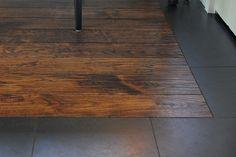 Faux wood tile with tile border.
