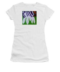 Patrick Francis White Junior Designer T-Shirt featuring the painting Zebra by Patrick Francis