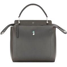 Fendi DOTCOM Medium Leather Satchel Bag (47,080 MXN) ❤ liked on Polyvore featuring bags, handbags, dark gray, leather satchel, fendi purses, satchel handbags, fendi and leather handbags