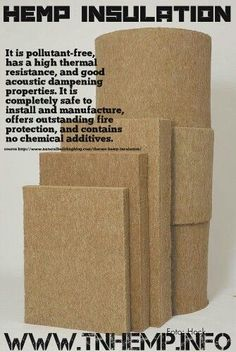 Hemp insulation is pollutant-free, has a high thermal resistance, and good acoustic damping properties. It is completely safe to install and manufacture, offers outstanding fire protection, and contains no chemical additives. Natural Building, Green Building, Save Our Earth, Save The Planet, Tadelakt, Earthship, Building Materials, Sustainable Living, Insulation