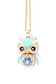 Turquoise Crystal Owl Pendant Necklace.