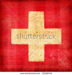 stock photo : Switzerland flag drawing ,grunge and retro flag series