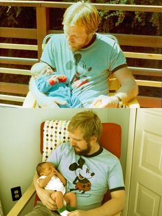 29-year-old father holding 2 week-old son. His now 29-year-old son holding his 2 week-old newborn son.