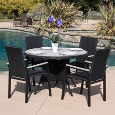 Selene Outdoor 5pc Black Wicker Dining Set