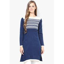 A good gift for wife:Akkriti Navy Blue Printed Acrylic Tunic