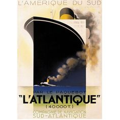 Authentic Models L'Atlantique - Cassandre ($40) ❤ liked on Polyvore featuring home, home decor, wall art, black, inspirational posters, authentic models, motivational posters, inspirational home decor and black wall art