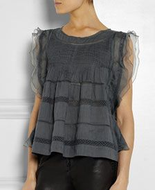 ISABEL MARANT Ojima ramie, lace and silk top