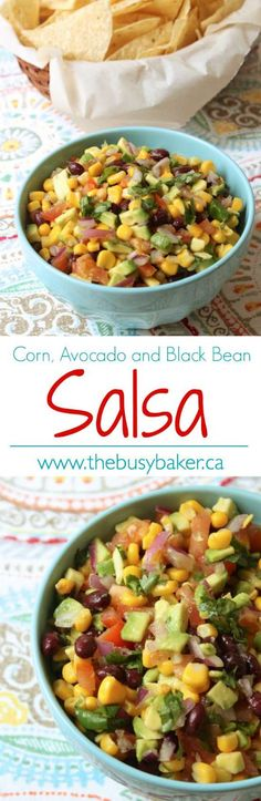 The Busy Baker: Corn Avocado and Black Bean Salsa Healthy Cooking, Healthy Snacks, Cooking Recipes, Healthy Recipes, Healthy Eats, Alkaline Recipes, Yummy Snacks, Delicious Recipes, Easy Recipes